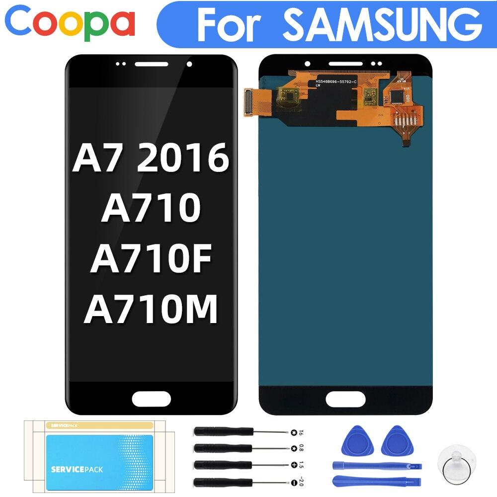 Para samsung galaxy a7 2016 a710 display lcd a710f a710m display substituição lcds tela de toque digitador assembléia