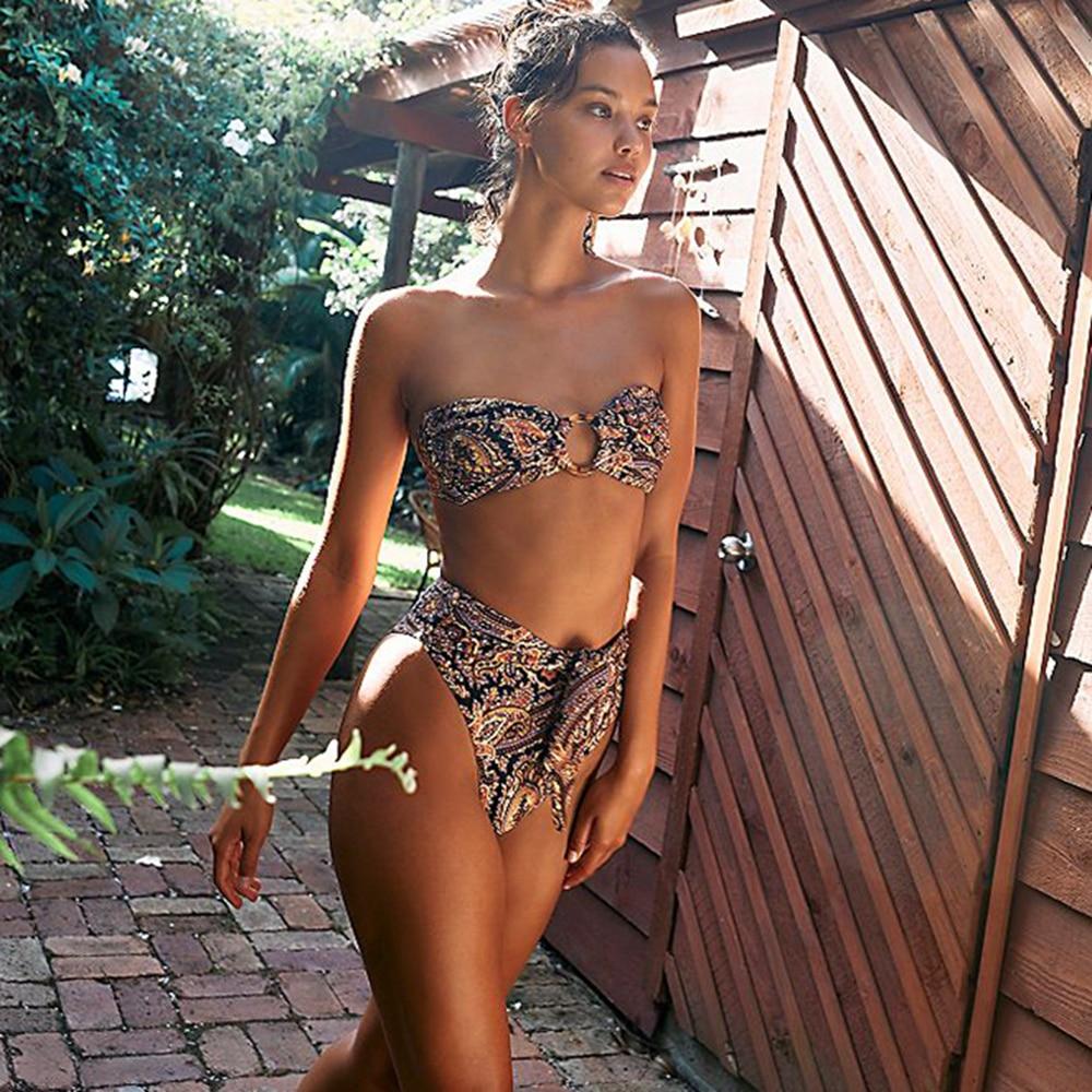 Sexy Bikini Set Floral Swimsuit Women String 2 Piece Bandeau Swimwear Female Bathing Suit Swim Suit Thong Bikini Brazilian 2021 2021 sexy women high waist bikini swimsuit swimwear female bandeau thong brazilian biquini bikini set bathing beach suit bather