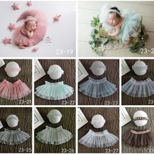 0-1Month Newborn Photography Props Princess Skirt Headband Lace Gauze Dress Outfit Baby Girl Dress C