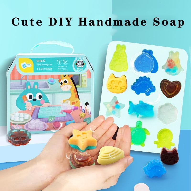 Children's Handmade Soap Child Cute Cartoon Animal Fun Crystal Soap Kindergarten Creative Diy Toys Material Package Safety Suit