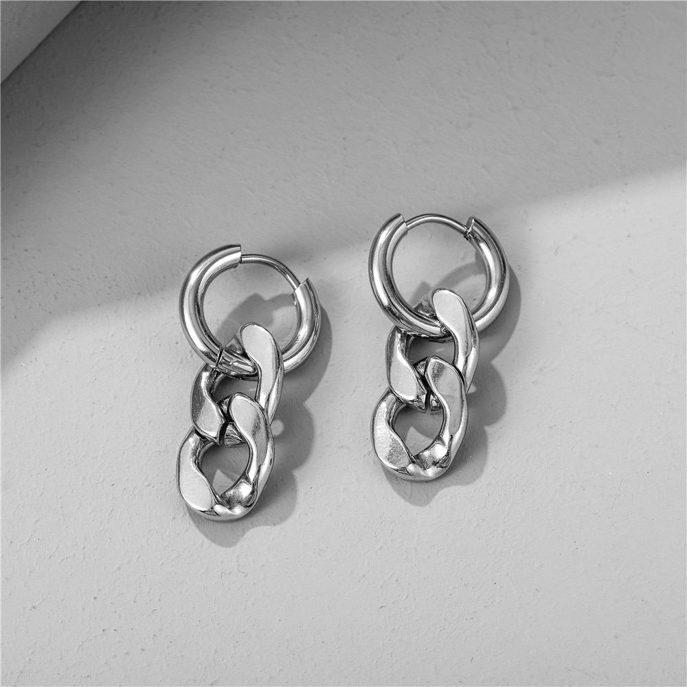 7Rings Hip Pop Style Punk Silver Earrings for Women Men Studs Earrings with Chain Stainless Jewelry