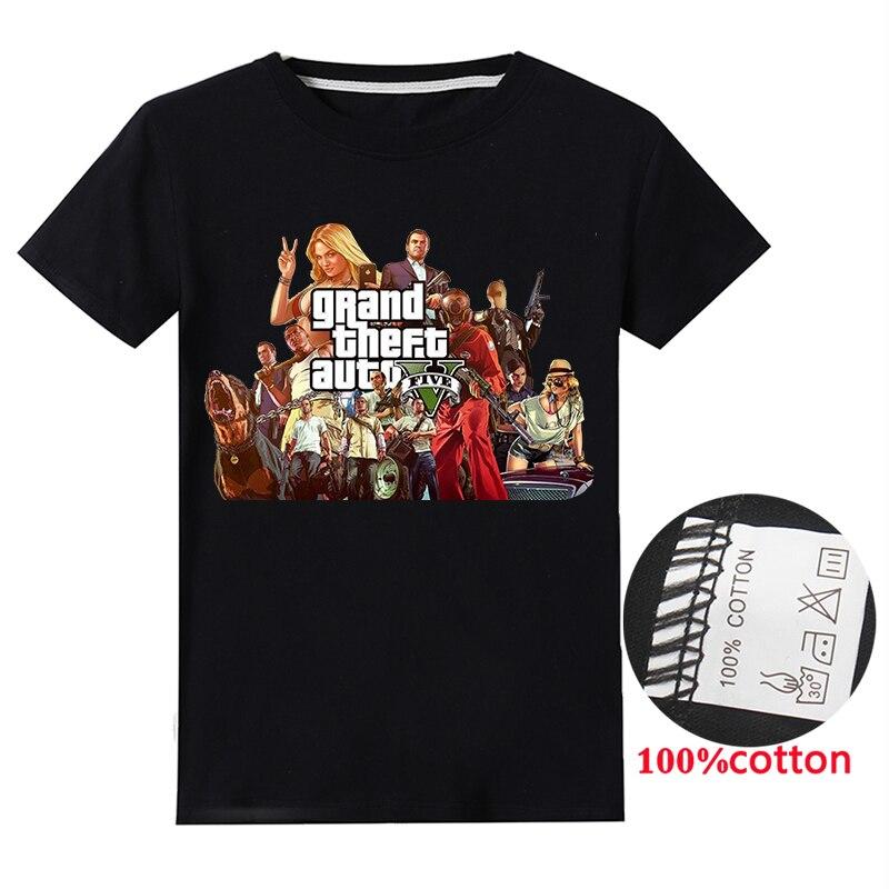 Nuevas camisas GTA 5 para niñas adolescentes, camisetas de manga corta para niños, ropa para niños, camiseta con gráfico de dibujos animados, ropa para bebés