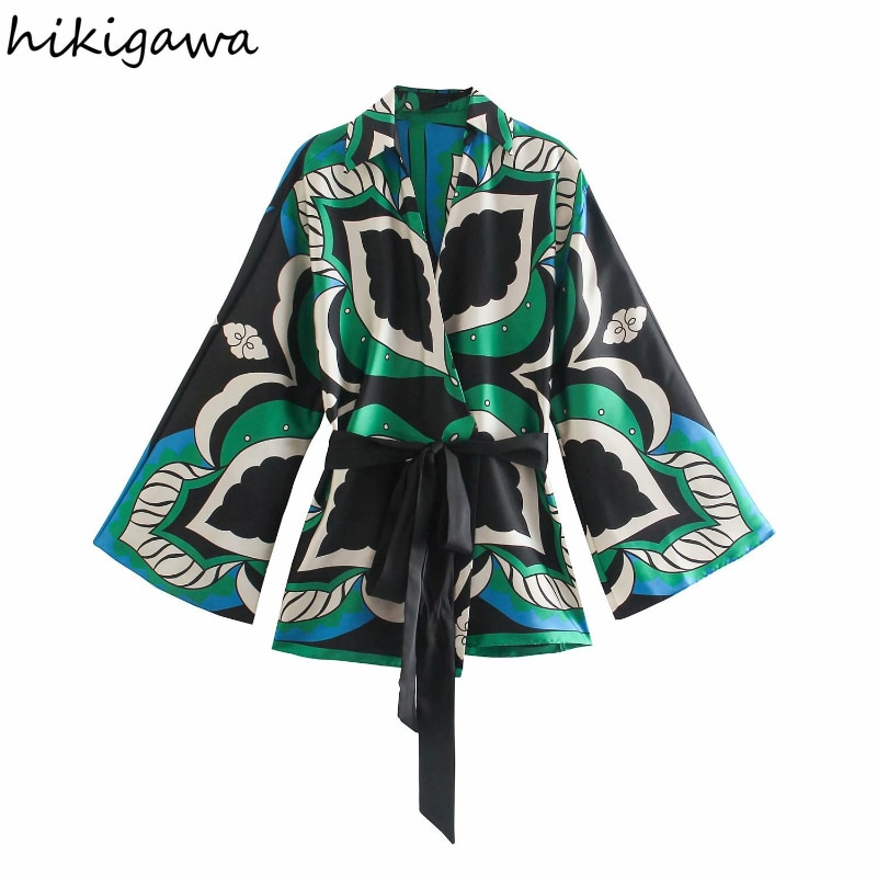 بلوزة حريمي من Hikigawa بلوزة عصرية بياقة مقلوبة وأكمام طويلة مزينة بفيونكة قمصان ذات خصر مرتفع بلوزات أنيقة ضيقة