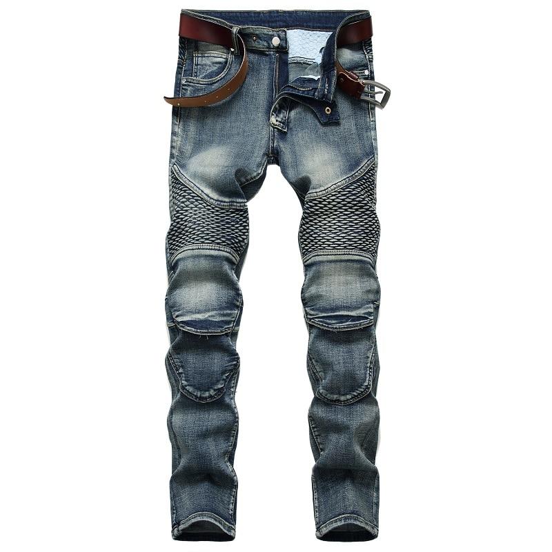 брюки мужские джинсы для мужчин Новинка 2021, модные джинсы, Мужские штаны до колен для езды, ностальгические мотоциклетные джинсы, облегающи...
