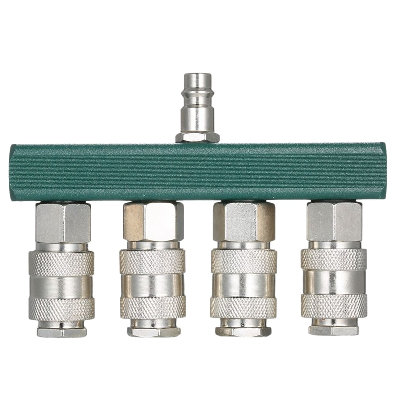 GTBL 1/4 pulgadas PT 4 vías colector de aire recto accesorio compresor de aire enchufe de conexión rápida en línea tipo divisor de manguera de aire