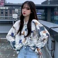 printed shirt autumn female retro college style loose thin long sleeved shirt student korean fashion clothing oversized women
