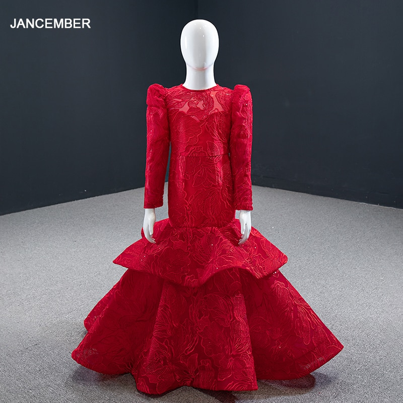 J66676k-فستان حورية البحر مزين بالورود للبنات ، فستان طويل الأكمام مكشوف الظهر بأربطة