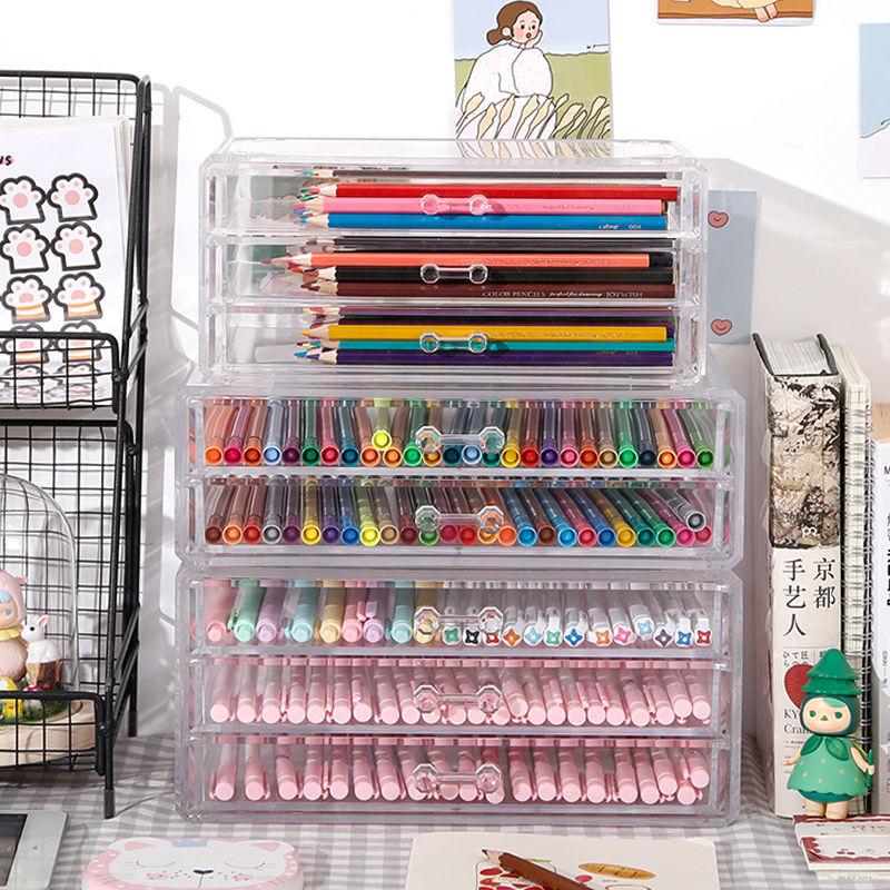 المنظم التجميل صندوق تخزين حامل أحمر الشفاه مجوهرات المنظم حامل قلم صندوق تخزين الأدوات المكتبية صندوق تخزين درج شفاف الاكريليك