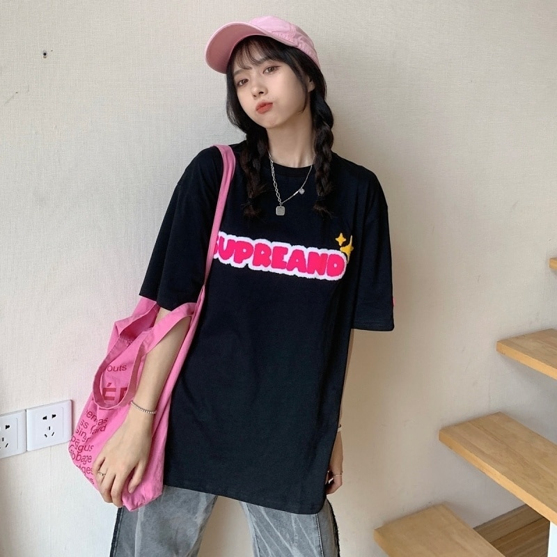 Short-Sleeved T-shirt Women's Mid-Length Towel T Harajuku Plus Size Tops Women Tshirt Kawaii Aesthet