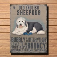 old english sheepdog dog wall art plaque with characteristics display vintage metal tin sign retro tin plate sign wall art decor
