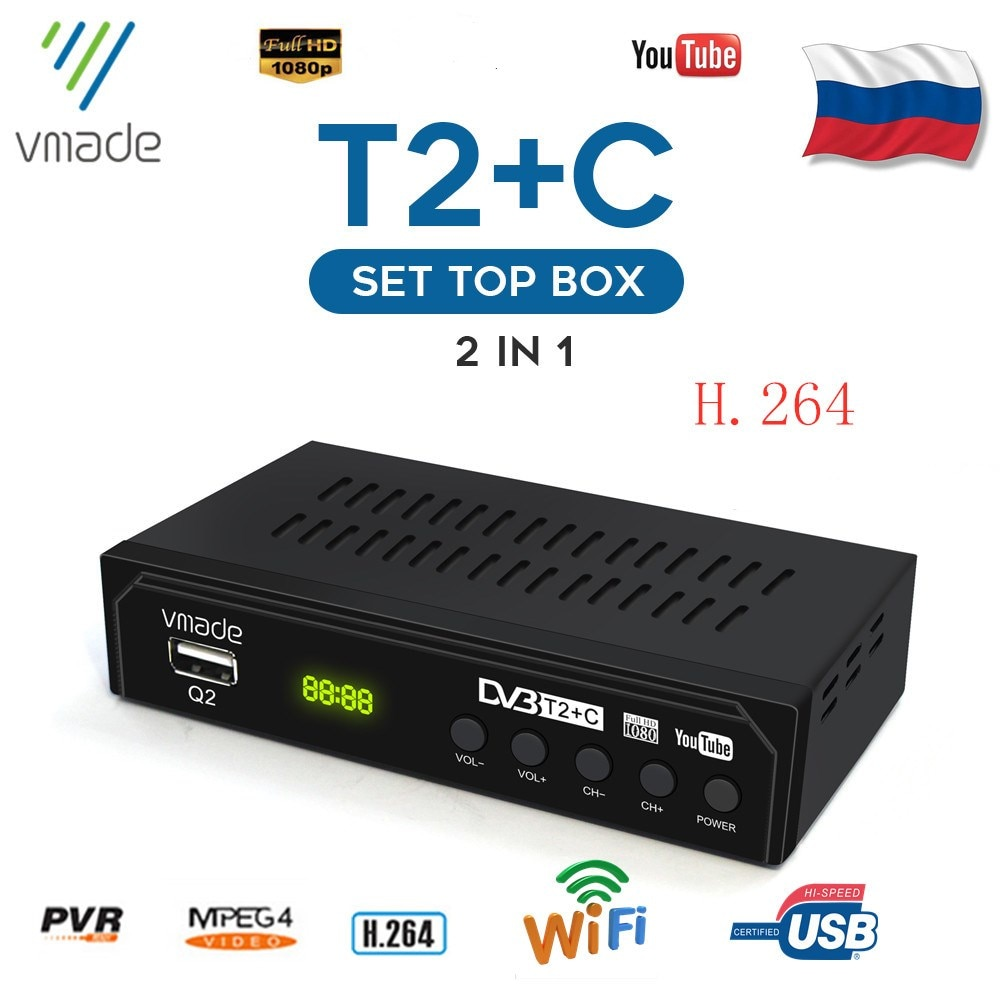 Vmade DVB T2 DVB C TV Receiver digital tv set-top box DVB T2 HD H.264 Decoder DVB C TV Tuner support YouTube USB WIFI DVB T2 недорого