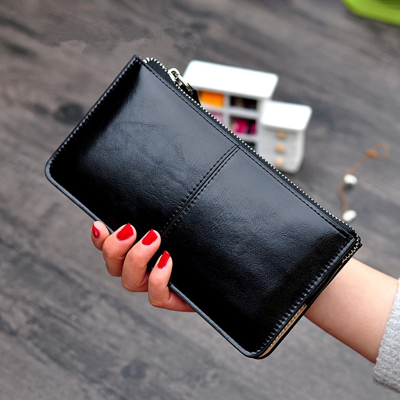 Women Vintage Oil Wax Leather Zipper Clutch Wallet Female Large Capacity Coin Purse Ladies Wristband Simple Card Holder Wallet