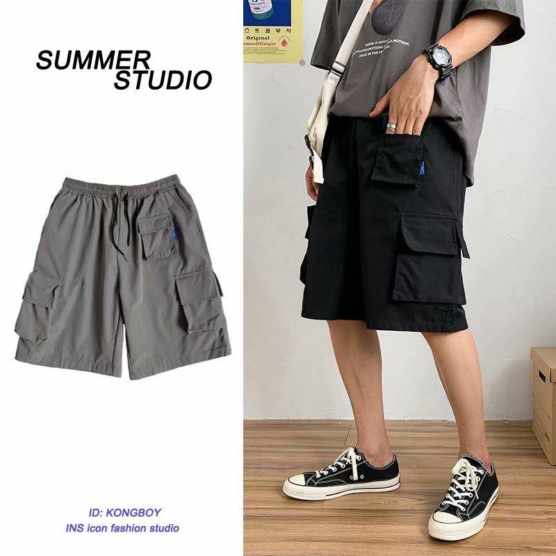 BXyichen Pantalones rectos de cinco puntos originales de verano para hombres, pantalones cortos de bolsillo lateral de tendencia coreana ins tooling