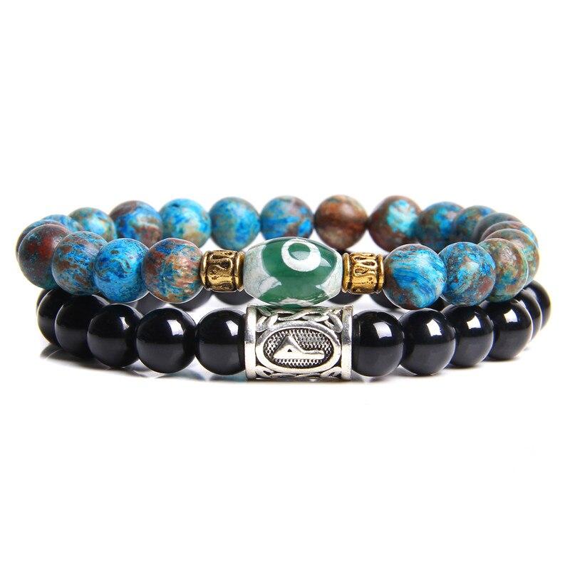 2 unidades, pulseras para parejas, brazalete de moda Dzi Agates antiguo para mujer, azul, Brasil, equilibrio Kynaite, brazalete de regalo para Yoga