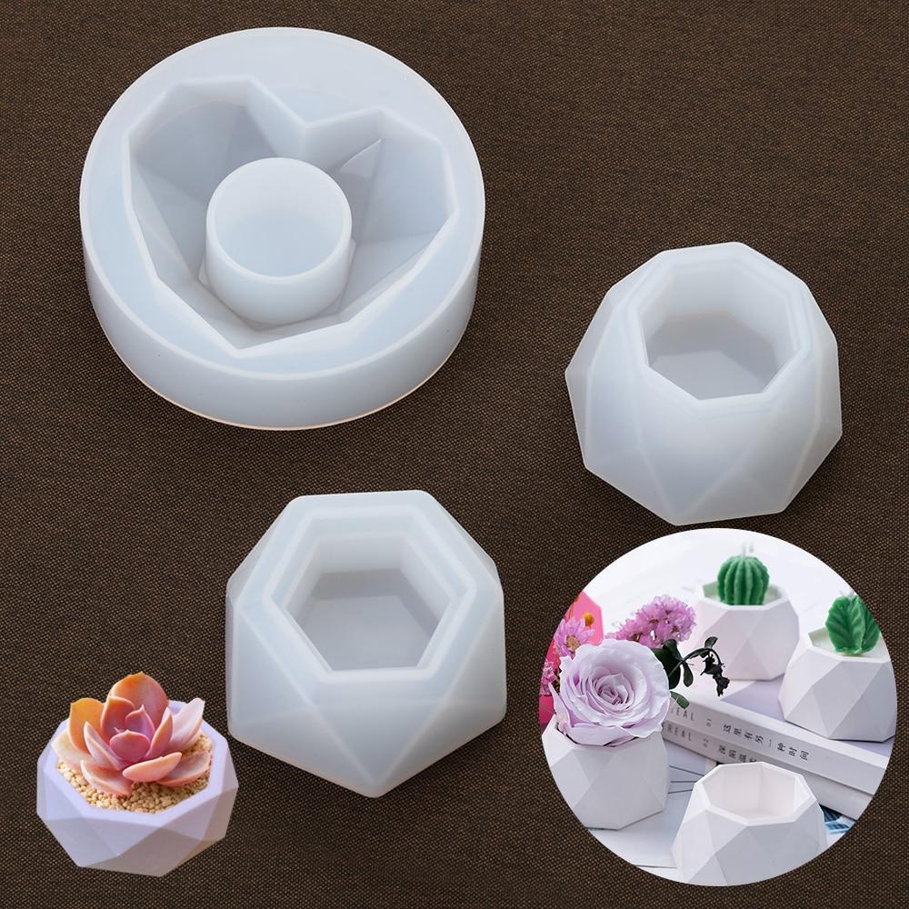 1pc silicone planta pote moldes forma artes artesanato poligonal fundição resina bandeja moldes diy suculento vaso de flores argila concreto hexágono