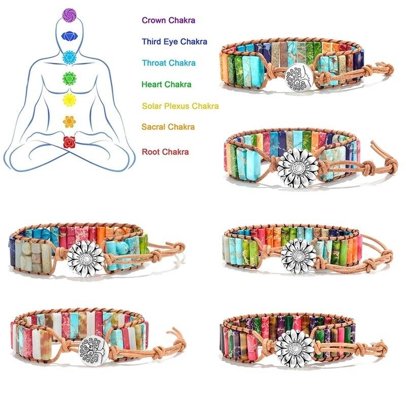 Pulseras de cuentas de piedra naturales curativas de 7 Chakras y reiki para hombres y mujeres, cuerda hecha a mano, envoltura de cuero, regalo de joyería de flores de yoga curativo