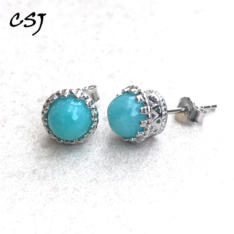 CSJ elegante Classic amazonita natural studs Earrings 925 Plata de Ley azul gema joyería fina mujeres Lady Engagment Party