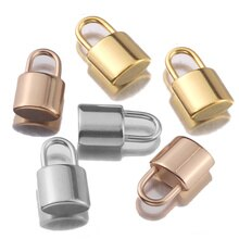 5 Stks/partij Rvs Rose Gold Pad Lock Hanger Drijvende Bedels Voor Diy Ketting Armband Sieraden Oorbel Maken Groothandel