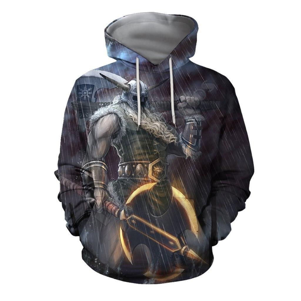 Толстовка унисекс с 3D-принтом викингов, свитшот на молнии, худи, женский и мужской пуловер, уличный костюм для косплея, 05