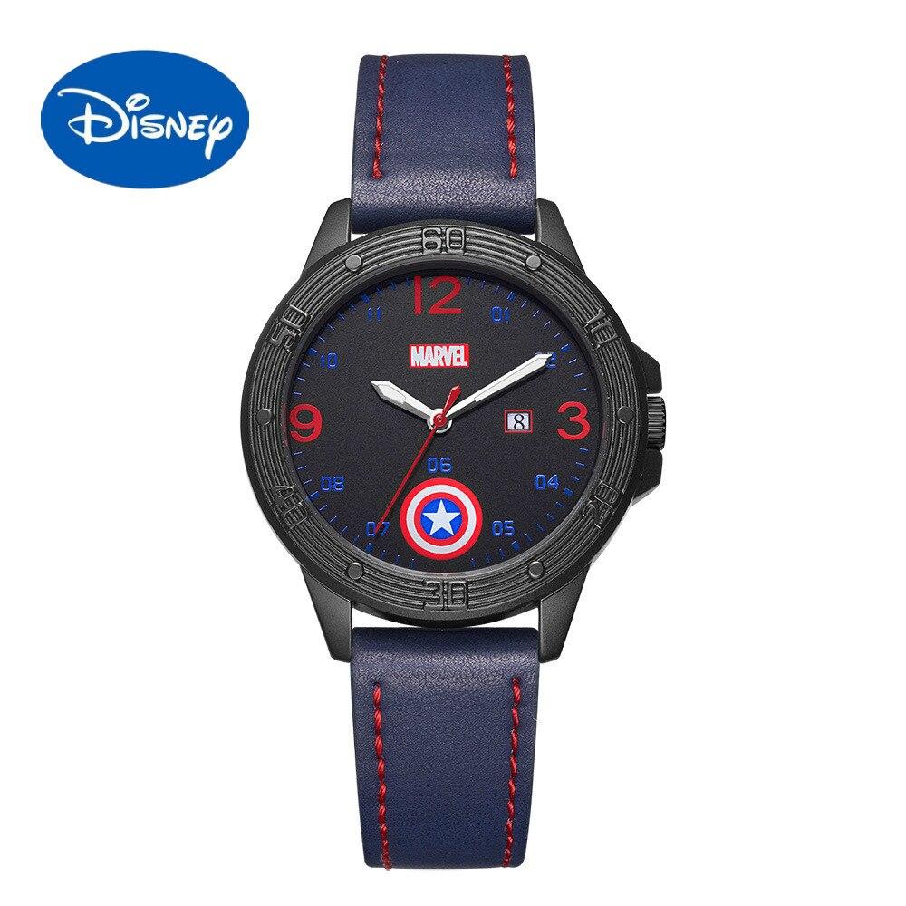 ساعة مارفل ديزني الأصلية للرجال ، كابتن أمريكا ، حزام غير رسمي ، ساعة كوارتز رائعة للأطفال