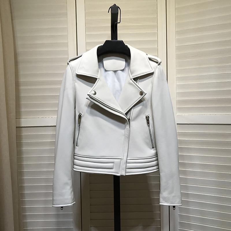 معطف من جلد الغنم عالي الجودة للربيع للنساء جاكيت من الجلد الأصلي جواكيت للدراجات النارية موديل 2021 ملابس بياقة مقلوبة معاطف قصيرة