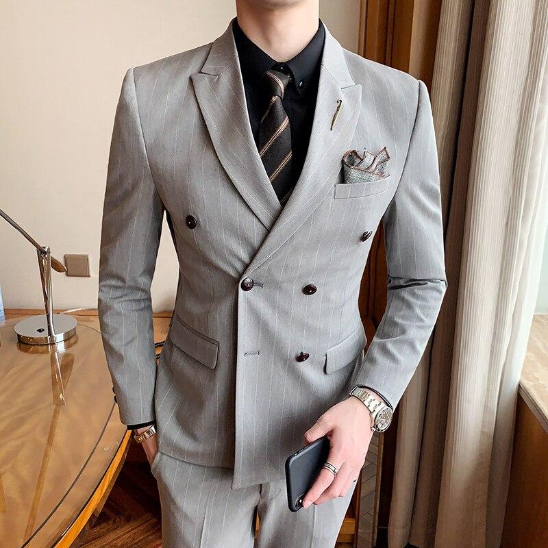 (Пиджак + брюки) 2021 мужской роскошный брендовый официальный Повседневный тонкий официальный деловой двубортный костюм мужской блейзер Свад...