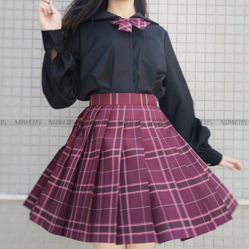 [Negro Lycoris radiata] Allstar chicas estudiantes verano faldas plisadas de cintura alta faldas a cuadros vestido de mujer para el uniforme escolar JK