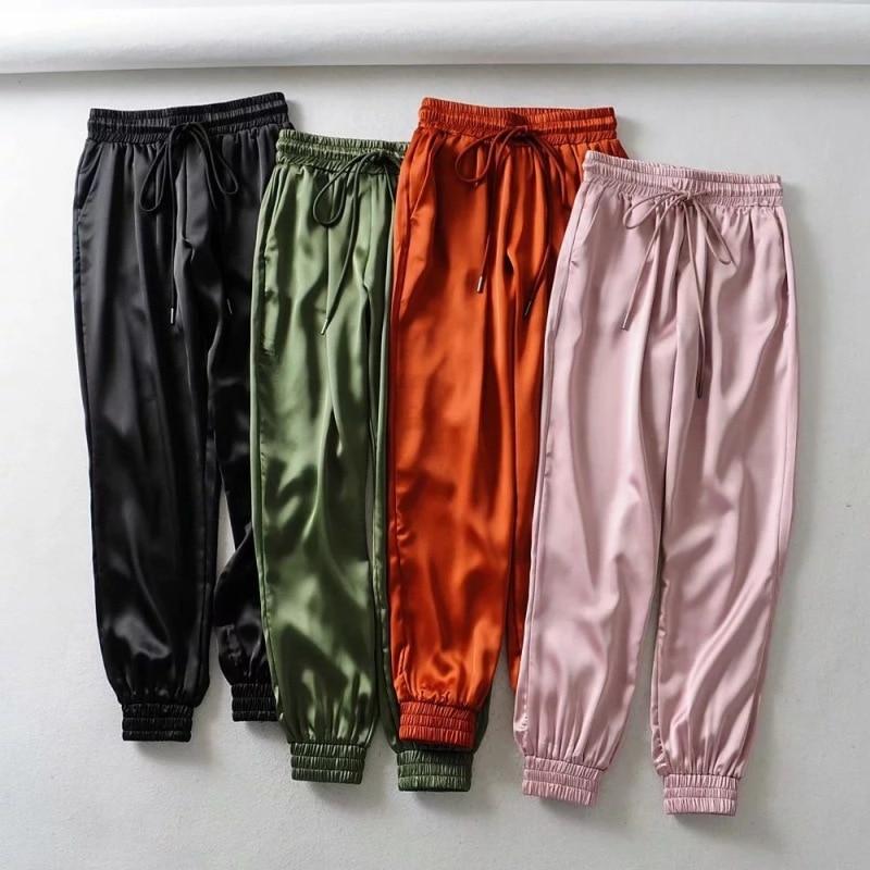 Summer Satin Cargo Pants Women Europe Loose Casual Sport Joggers Streetwear