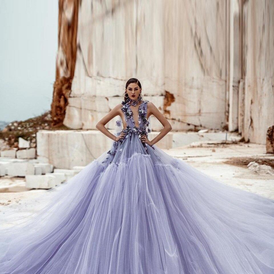 Lavender Gown Purple Tulle Ball Gown See Through Long Robe Deep V Neck 3D Flowers Lush Skirt  For Women Beach Skirt Plus Size