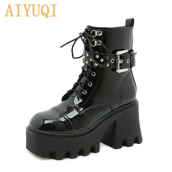 Knight Boots Women Platform 2021 New Autumn Patent Leather Thick-soled Women Ankle Boots Lace-up Buckle Martin Boots Women