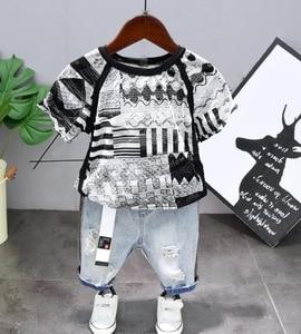 New Summer Boys Clothing Sets Children Clothing boy Cutout Breathable Short Sleeve T-Shirt + shorts jeans 2pcs Suit 2-6year
