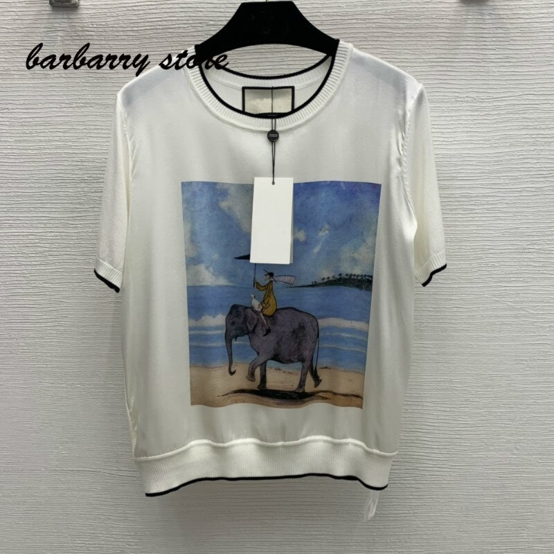 2021 luxury design riding elephant pattern printing fashion women's short sleeve top temperament slim versatile graphic T-shirt