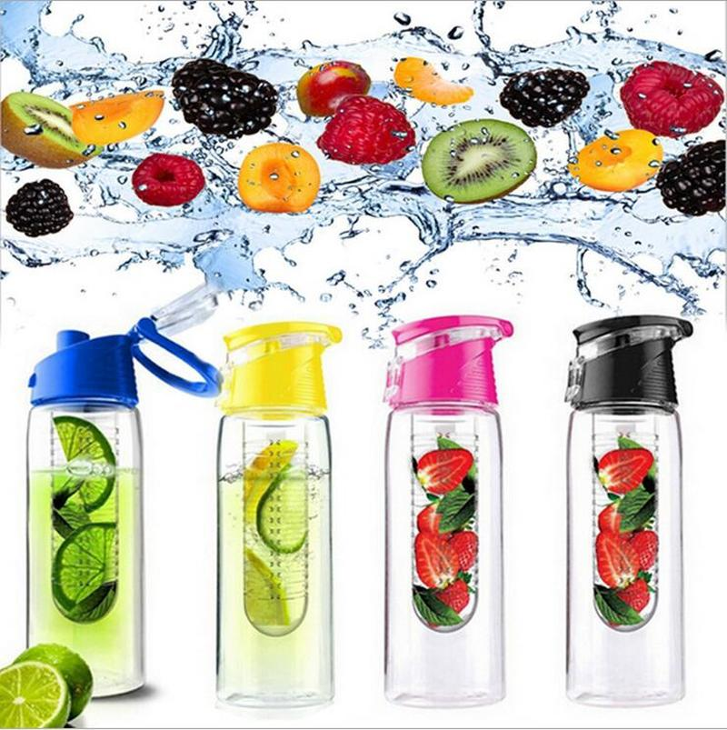 800ML Portable Fruit Infuser Water Bottle Lemon Juice Bottle Flip Top for Kitchen Table Camping Outdoor Trip