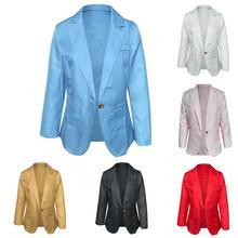 Women's Blazer jackets Spring Autumn Plus Size Office Lady Solid Color Single Button Blazer Long Sle