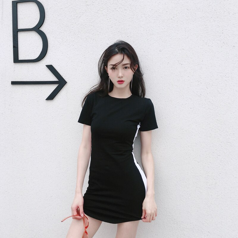 2020 Summer Women Dress Slim Sexy Hip Mini Dresses White Black Striped High Waist Short Sleeve Sport Dress Women One Size