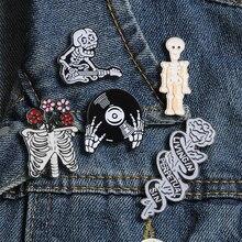 Skeleton Enamel Pin Flower Skull Ghost Rose Badge Brooch Denim Shirt Backpack Gothic Lapel Pins Punk Jewelry Gifts for Women Men