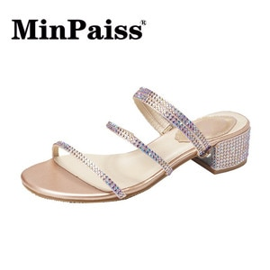 Women's Shoes Summer Double Diamond Sandals Lace Root Casual Shoes Fairy Wind Sandals  High-Heeled Shoes
