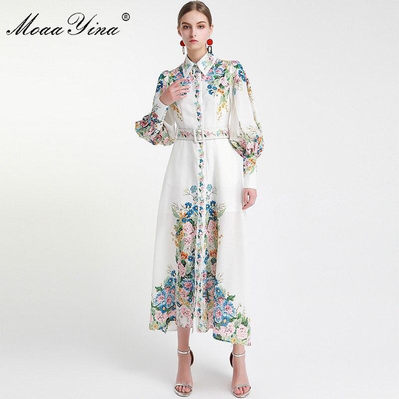 MoaaYina Mode Designer Runway kleid Frühling Herbst Frauen Kleid Laterne Hülse Floral-Print Urlaub Kleider
