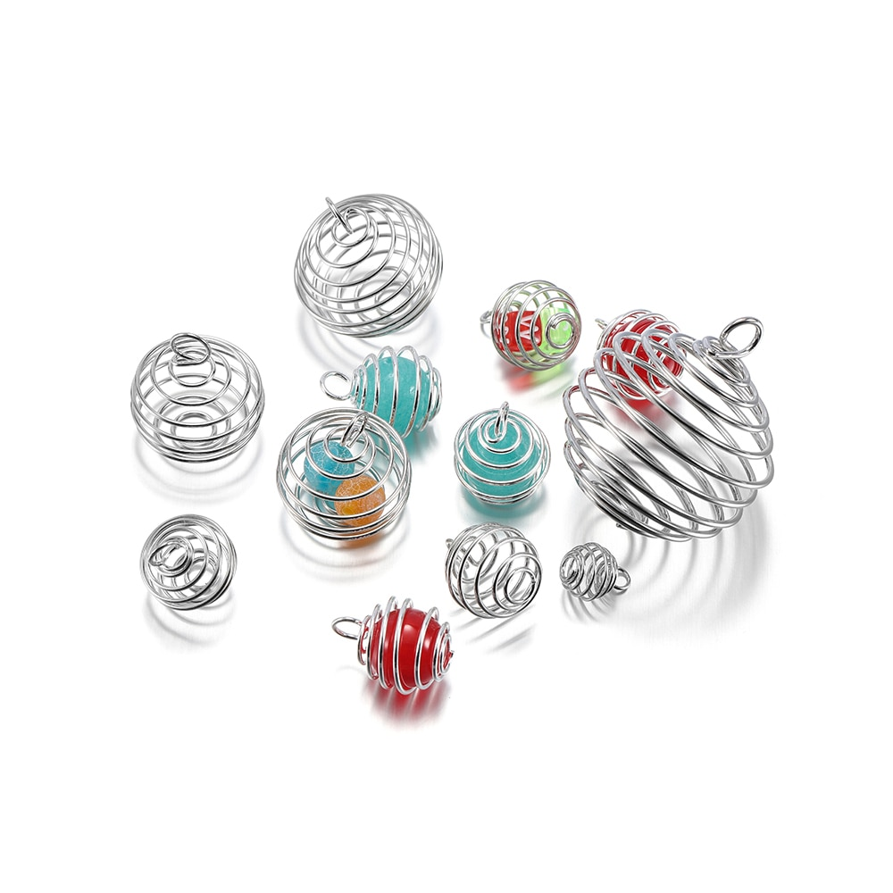 5-30Pcs/Pack 9-35mm Metal Spiral Beads Cages Pendants Hollow Lantern Bead Caps For DIY Charms Jewelry Making Supplies Findings