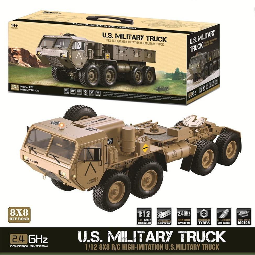 JTY Toys RC Car 112 8x8 Sistema de transmisión de Metal de camiones militares todo terreno 8 ruedas Crawler Control remoto vehículo todoterreno
