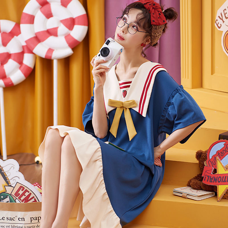Ladies Nightdress Spring and Summer Night Dress Girl New Product Cartoon Cute Sweet Loose Large Size Maternity Outside