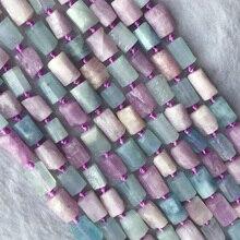 Naturel véritable minéral brut bleu aigue-marine violet Kunzite pépite forme libre perles à facettes mat rugueux en vrac 6-8mm
