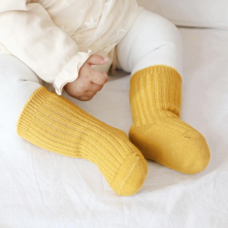 Утепленные детские носки, осенне-зимние хлопковые полосатые носки, теплые детские носки для маленьких мальчиков, дешевые детские зимние но...