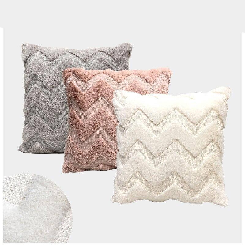 Inverno de pelúcia fofo bordado capa de almofada moda cor sólida grosso malha travesseiro capa 43*43cm escritório casa decoração do carro