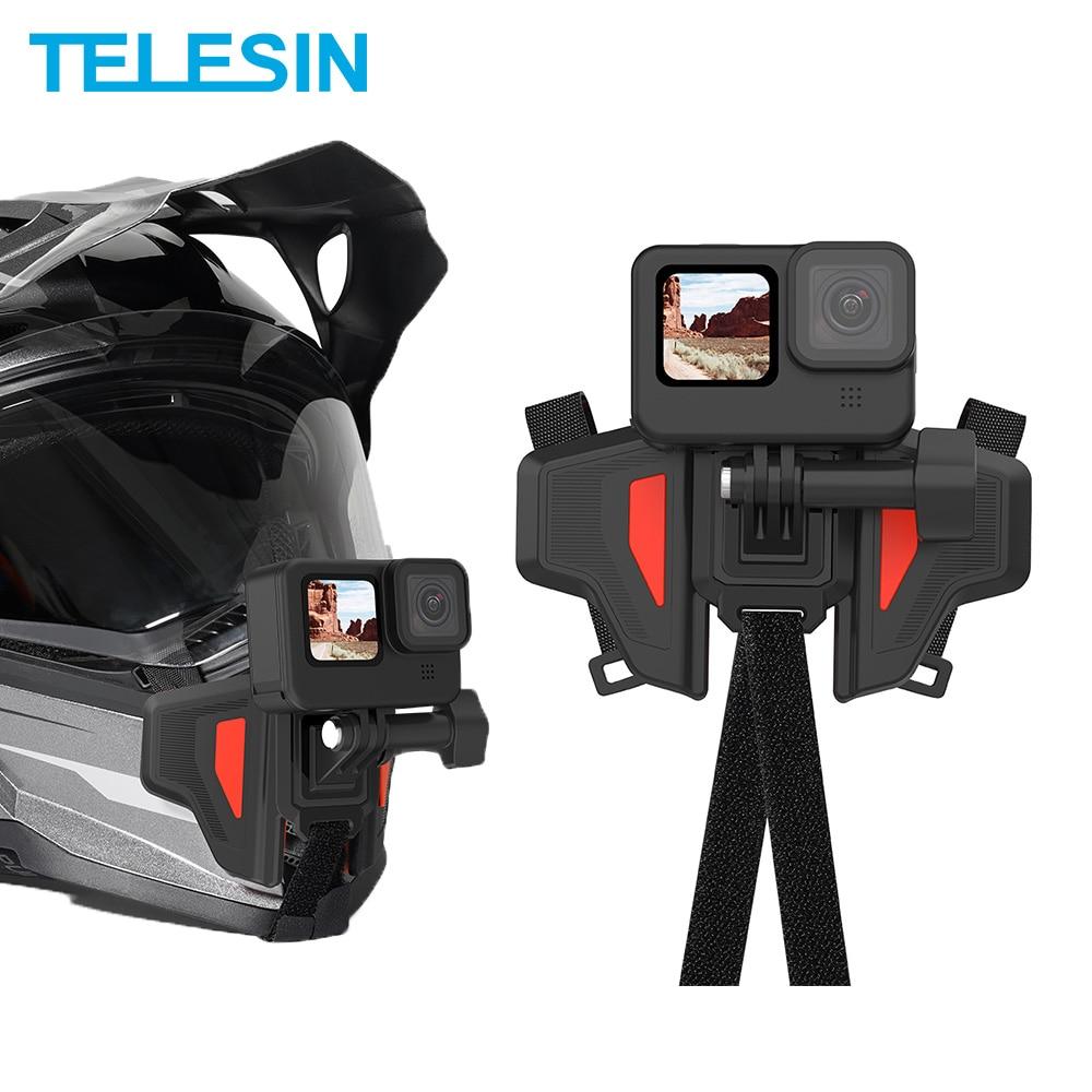 خوذة دراجة نارية من TELESIN مزودة بشريط تثبيت قابل للطي للذقن الأمامية مناسب لحامل الهاتف المحمول GoPro Hero 9 8 7 6 5 ملحقات عمل لـ DJI oomo Insta360