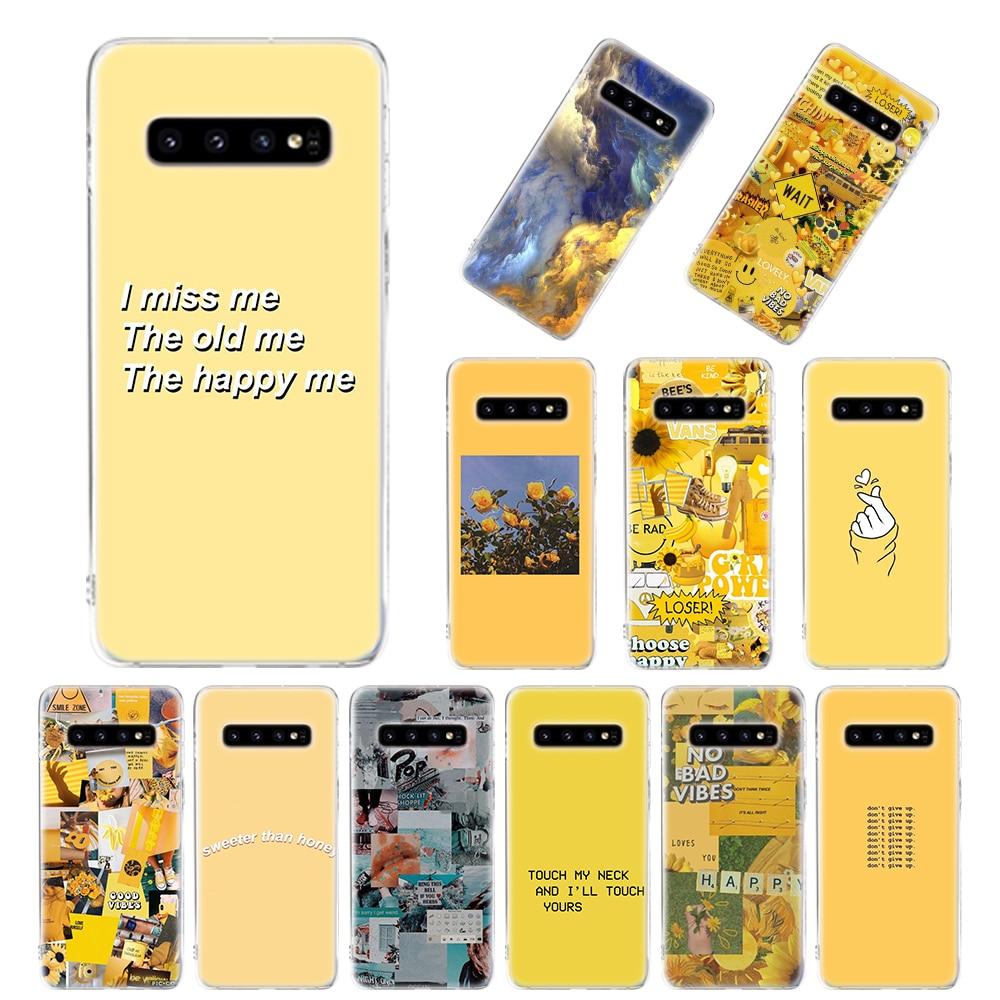 Estética pintura al óleo amarillo funda de silicona para Samsung Galaxy S20 S10e S8 S9 S10 S20 Plus Nota 8 9 10 más 20 Ultra S7 cubierta