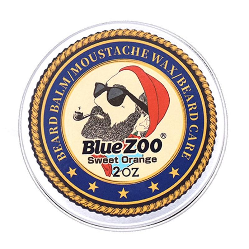 Blue ZOO Natural Beard Oil Balm Moustache Styling Beeswax Moisturizing Smoothing Gentlemen Organic Men Grooming Kit