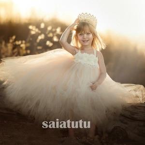 Girls ivory Flowers Wedding Tutu Dress princess party Children 20121 Handmade Tulle Costume Kids Formal Ball Gown Birthday Gifts