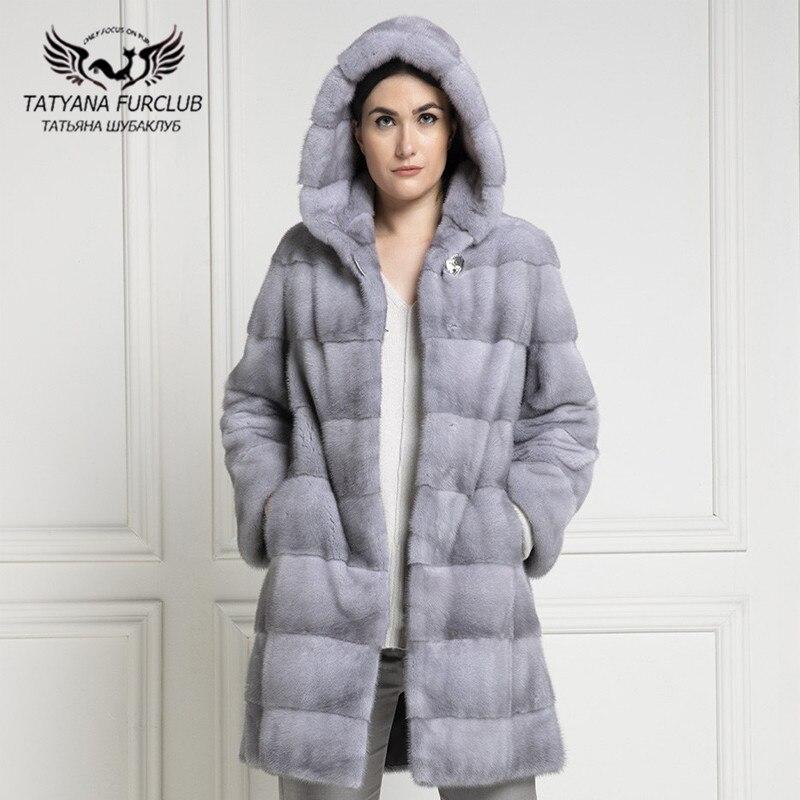 90cm Long Real Mink Fur Coats For Women 2021 Winter New Full Pelt Mink Fur Coat With Hood Warm Female Plus Size Fur Overcoats недорого