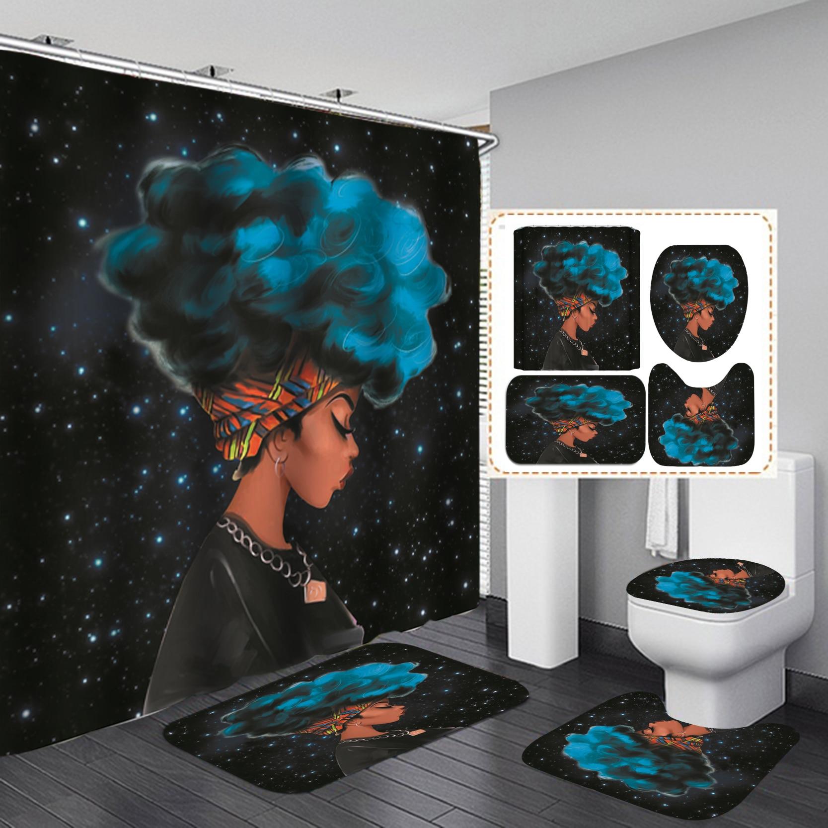 Cielo estrellado cielo niña negra africana Cortina de ducha Afro pelo azul mujer americana cortinas de baño antideslizantes alfombras tapa de inodoro cubierta estera
